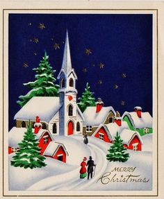 Snow scene with church on a vintage embossed Christmas card. Vintage Christmas Images, Retro Christmas, Vintage Holiday, Christmas Pictures, Vintage Images, Christmas Pageant, Holiday Images, Christmas Scenes, Christmas Past