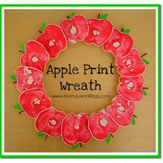 Apple Print Wreath Craft that is perfect for Rosh Hashanna or just because it is pretty.