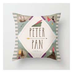 Peter Pan Throw Pillow ($20) ❤ liked on Polyvore featuring home, home decor, throw pillows and graphic throw pillows