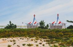 """CHAPPY CABANAS"" -Chappaquiddick, Massachusetts. Signed limited edition (50) giclée print of a watercolor painting • Size: 20 X 14 inches $175 #MarthasVineyard #watercolor #painting"