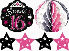 Sweet 16 Sparkle Birthday Decorating Kit - package of 10 decorations