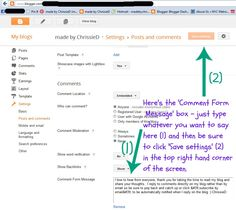 made by ChrissieD: Tutorial: Personalising Your Blogger Comment Message