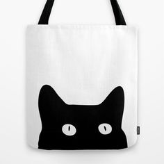 Tote Bags featuring Black Cat by Good Sense