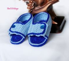 Blue handmade crochet baby Boy sandals with Blue by TheCCVillage, £7.00