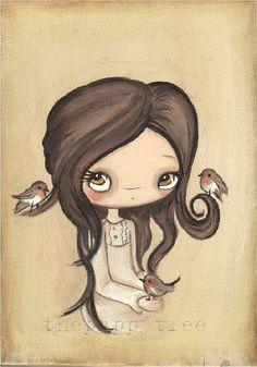 Robin Print Girl Portrait Bird Wall Art