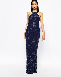 Image 1 of Virgos Lounge Norma All Over Embellished High Neck Trophy Maxi Dress