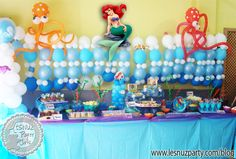 Ariel la Sirenita, temática bajo el mar mesa dulce - Sweet table under the sea, Ariel The Mermaid