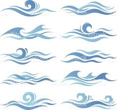 Set of abstract waves Ocean Wave Drawing, Ocean Wave Painting, Watercolor Wave, Watercolor Tattoos, No Wave, Wave Clipart, Body Art Tattoos, Space Tattoos, Abstract