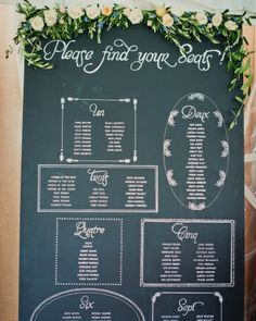 Hand-drawn chalkboard seating chart
