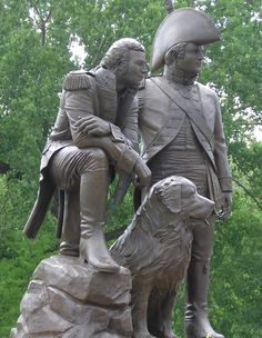 St. Charles, Missouri - Lewis, Clark & Seaman Monument in Frontier Park along the Missouri River