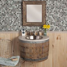 Reclaimed Wood Bath Vanities - Native Trails - Bordeaux Wall Mount - Reclaimed oak wine barrel is disassembled and modified before repurposing as a bath vanity or wetbar.