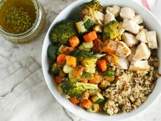Roasted Vegetable and Chicken Quinoa Bowls for Two recipe  via Food Network