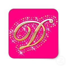 Pink Sticker with Initial D Initial D, Make Your Own, How To Make, Diamonds, Stickers, Pink, Gold, Design, Alphabet