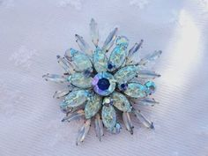 Looking for great vintage? The Painted Pony will be at The Community House's Vintage Jewelry Sale and Tea February 15th 2014  Gorgeous Vintage Rhinestone and Molded Glass Brooch Blue Colors