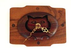 Vintage Handmade Wood Wall Clock- a Kitty Cat Face by LemonlyPink on Etsy