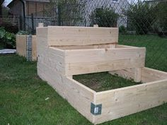 Going to build staggered raised beds someday. Raised Bed Frame, Raised Beds, Lawn And Garden, Garden Beds, Home And Garden, Garden Projects, Home Projects, Butterfly Plants, Butterflies
