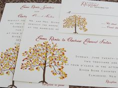 Fall Wedding Invitations by Whimsicalprints on Etsy, $2.40
