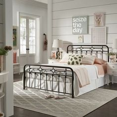 Laurel Foundry Modern Farmhouse® A classic and timeless aesthetic is easily set for your bedroom with the addition of the antique Platform Bed. This metal bed features simple and traditional qualities of a curved frame with dainty spindle detailing. Decorative metal accents add to the bed's beauty. Size: Queen
