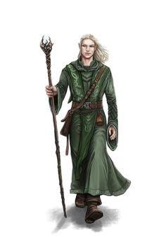 Elf Druid - Pathfinder PFRPG DND D&D d20 fantasy