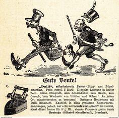 Werbung - Original-Werbung/ Anzeige 1902 - DALLI PLÄTT- UND BÜGELMASCHINE / DEUTSCHE GLÜHSTOFF/ MOTIV SOLDATEN - ca. 90 x 90 mm