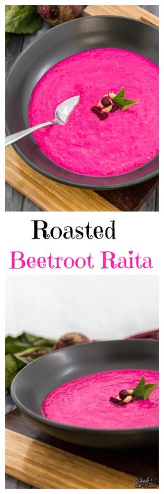Healthy and easy Roasted Beetroot Raita (Indian Yogurt Dip) is the perfect accompaniment to your Indian meal.