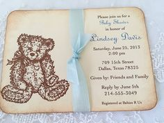 Boy Teddy Bear Invitations Baby Shower by SeasonalDelightsBaby