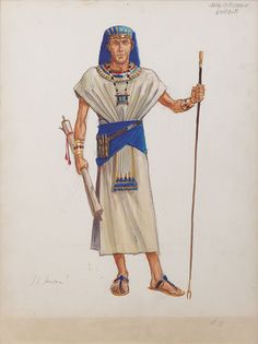 "JOHN JENSEN COSTUME SKETCH FOR ""CHIEF OVERSEER"" FROM THE TEN COMMANDMENTS"