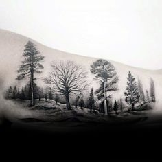 Landscape Trees Male Forest Tattoo Inspiration On Inner Arm