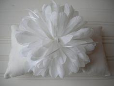 White Pom Pom Ring Bearer Pillow by DaniCalve on Etsy, $22.00