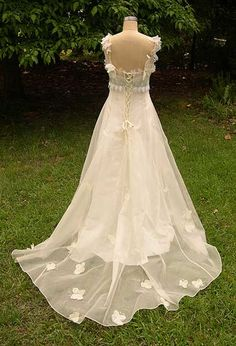 butterfly wedding dress - I like that transparent train too