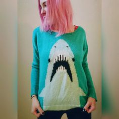 Awesome, shark sweater!! So comfy and cute! Oversized neckline. Excellent condition. 100% acrylic. LA Hearts Sweaters Crew & Scoop Necks