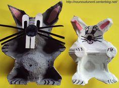 Lapins de Pâques réalisés avec des boîtes oeufs, explications sur mon blog