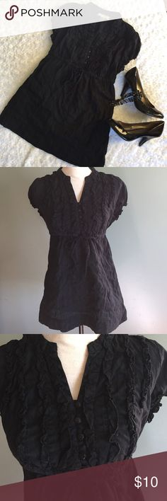 Black baby doll top Ruffled v-neck Button top. Cinch tie under the bust. Cute for work or going out. Arizona Jean Company Tops Blouses