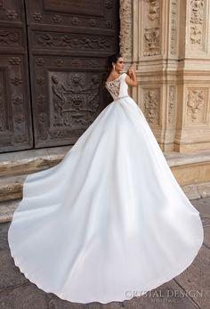 crystal design 2017 bridal off the shoulder simple clean bodice elegant classic ball gown a  line wedding dress with pockets lace back royal train (rafaella) bv