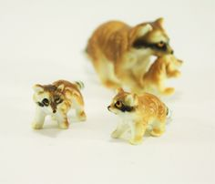 Vintage Bone China Raccoon Family,Hand Painted Figurines ,Set of 3 Miniature Raccoons,  Sow with Kits - pinned by pin4etsy.com