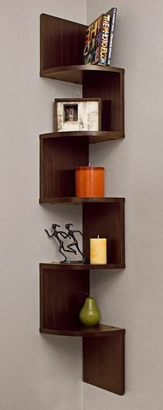 Corner zig zag wall shelf | furniture design