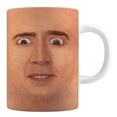 Not sure if this is supposed to put you off your coffee or improve the experience but for me this Creepy Cage Face Coffee Mug is a no, no. Friend Birthday Gifts, Best Birthday Gifts, Gifts For Friends, Gifts For Her, Gag Gifts, Best Gifts, Wtf Face, Weird Face, Creepy Faces