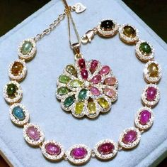 Colorful candy tourmaline silver sets