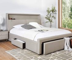 Delight in the fine, tailored leather look of the Lukko storage bed. The cleverly crafted headboard boasts one long shelf and built-in storage cabinets behind t Built In Storage, Bed Storage, Storage Drawers, Bedroom Furniture, Bedroom Decor, Master Bedroom, Bedroom Ideas, Bedroom Makeover Before And After, Bed Designs With Storage