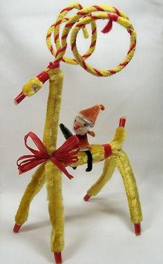 Vintage Crazy Christmas Ornament Spun Cotton Santa Elf
