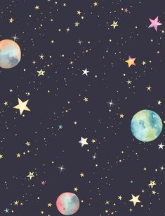 Pattern Colorful Stars And Planets For Baby Photography Backdrop - Baby Show/Balloon Background - Wallpaper Planets Wallpaper, Wallpaper Space, Iphone Background Wallpaper, Trendy Wallpaper, Pastel Wallpaper, Computer Wallpaper, Galaxy Wallpaper, Cool Wallpaper, Cute Wallpapers