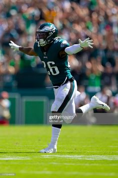 Miles Sanders of the Philadelphia Eagles reacts after a touchdown by DeSean Jackson in the second quarter against the Washington Redskins at Lincoln Financial Field on September 2019 in. Philadelphia Eagles Football, Philadelphia Sports, Football Art, Football Players, Desean Jackson, Fly Eagles Fly, Football Uniforms, Football Conference, Mom Tattoos