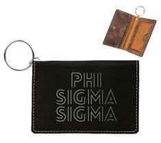 by One pocket on outside of holder, measures x 2 ID Holder has a snap closure. There are two pockets on the inside in addition to the clear ID window. The silver key ring is included, 1 diameter. Sigma Lambda Gamma, Alpha Chi, Delta Zeta, Delta Gamma, Engraved Tumblers, Chi Omega, Id Holder, Key Rings, Window