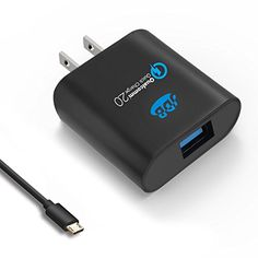 Quick Charger JDB 18W Quick Charge 20 Wall Charger Cell Phone Fast Charger Turbo Charger  6ft Micro USB Cable for Samsung LG Nexus Motorola and More  Black * Want to know more, click on the image. (This is an affiliate link) #Chargersandpoweradapters