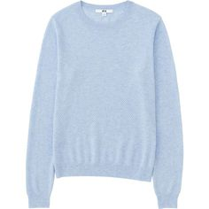 UNIQLO Cotton Cashmere Lacy Crew Neck Sweater ($28) ❤ liked on Polyvore featuring tops, sweaters, lace top, uniqlo, see through tops, blue top and sheer lace top