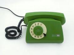 Teléfono rotatorio verde Vintage 80s