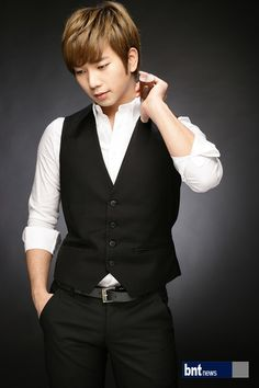 This man is from the singing group MBLAQ. His stage name is G.O, but his real is Jung Byunghee. He's got a body underneath that, but he rarely shows it. He can sing and he's not bad to look at either.