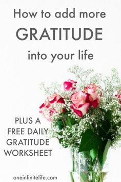 I've been practicing gratitude — with varying levels of devotion — for over a decade now. During that time I've discovered that nothing has contributed to my happiness more than adding more gratitude into my life. If you want to be more grateful, click through to discover 7 ways to add more gratitude into your life, plus I've also got a free daily gratitude worksheet for you https://oneinfinitelife.com/how-to-add-more-gratitude-into-your-life