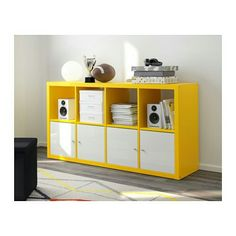 IKEA - KALLAX, Shelf unit, yellow, , Choose whether you want to place it vertically or horizontally to use it as a shelf or sideboard. Ikea Kallax Shelving, Kallax Shelving Unit, Bookcase Shelves, Storage Shelving, Ikea Yellow, Ikea Regal, Table Ikea, Kallax Regal, Ikea Home