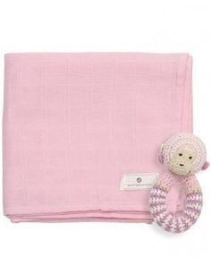 Mullwindel-Set mit Affen-Häkelrassel in rosa
